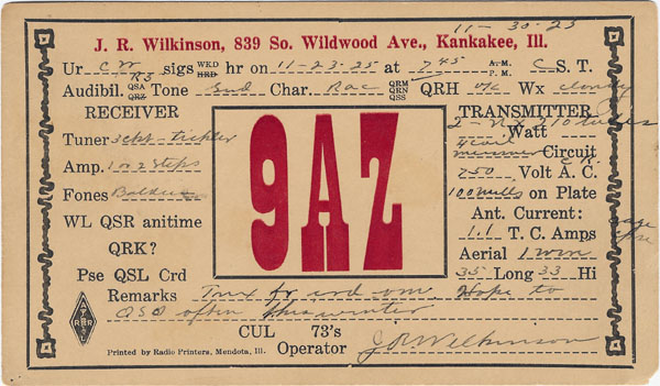 9AZ QSL back in 1925