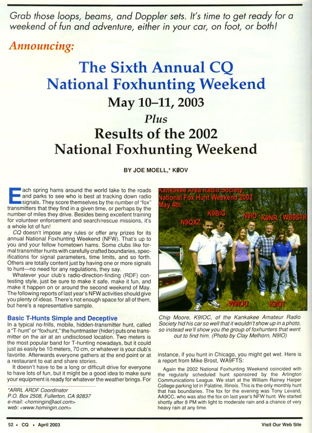 April 2003 CQ Amateur Radio Magazine article featured KARS Fox Hunters