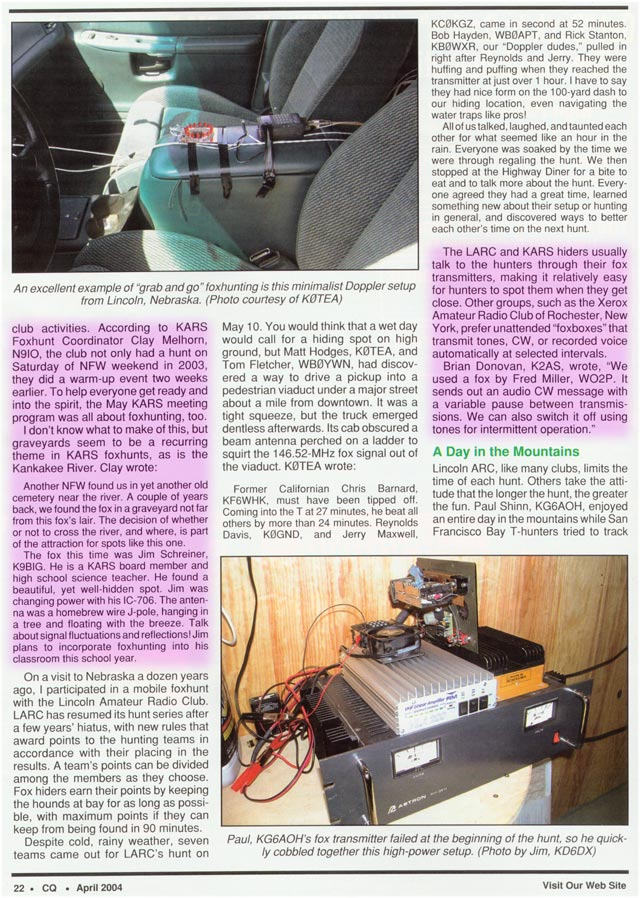 April 2004 CQ Amateur Radio Magazine article featured KARS Fox Hunting