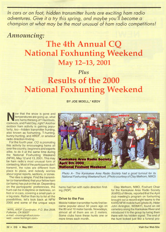 May 2001 CQ Amateur Radio Magazine article featured KARS Fox Hunters