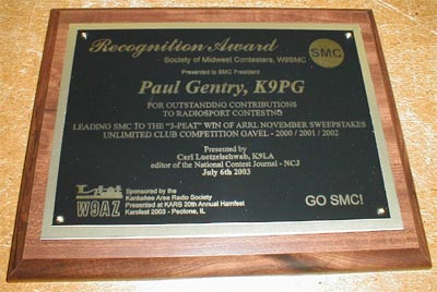 Plaque presented to Paul Gentry, K9PG